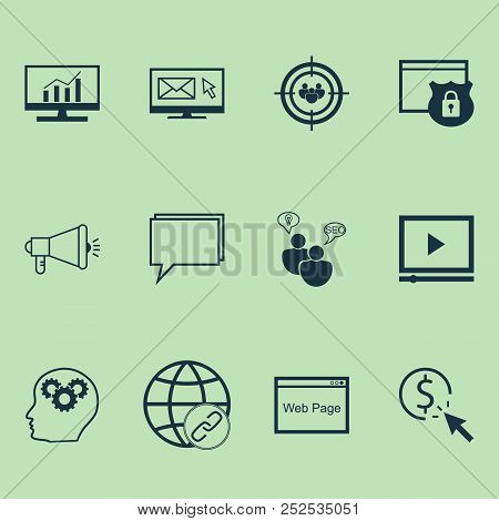 Marketing Icons Set With Online Consulting, Creativity, Comprehensive Analytics And Other Media Camp
