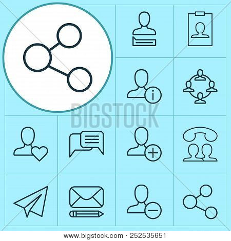 Network Icons Set With Social Network, Messaging, Information And Other Team Organisation Elements.
