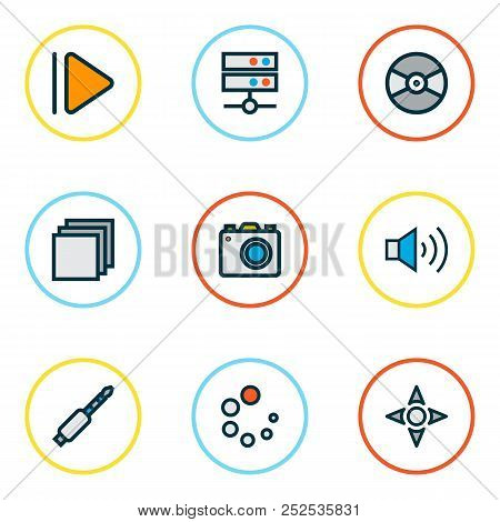 Multimedia Icons Colored Line Set With Upward, Jack, Media Server And Other Turntable Elements. Isol