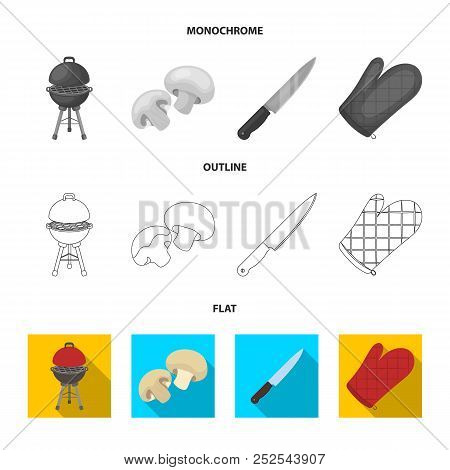 Barbeque Grill, Champignons, Knife, Barbecue Mitten.bbq Set Collection Icons In Flat, Outline, Monoc