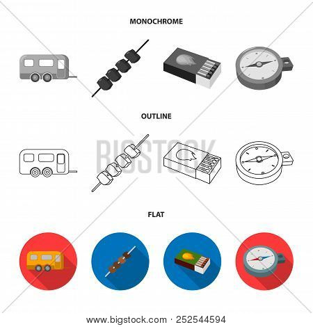 Trailer, Shish Kebab, Matches, Compass. Camping Set Collection Icons In Flat, Outline, Monochrome St
