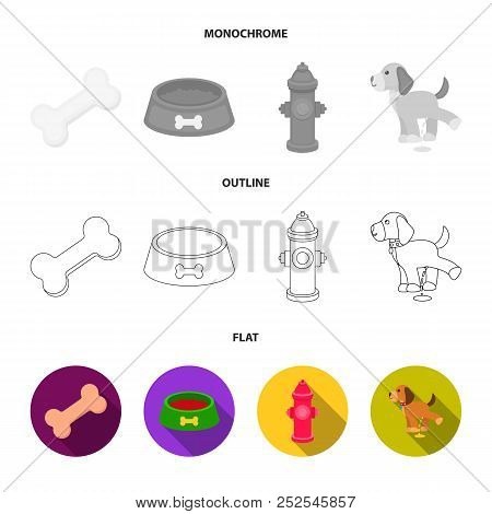 A Bone, A Fire Hydrant, A Bowl Of Food, A Pissing Dog.dog Set Collection Icons In Flat, Outline, Mon