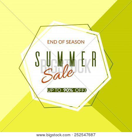 Geometric Banner Summer Sale End Of Season 90% Discount On A Modern Geometric Background Summer Brig