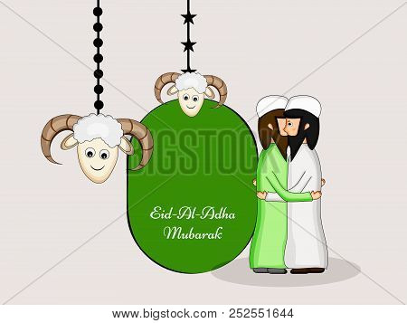 Illustration Of Mosque And Goat With Eid Al Adha Mubarak Text On The Occasion Of Muslim Festival Eid
