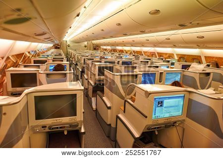 HONG KONG - CIRCA JUNE, 2015: interior shot of business class on Emirates Airbus A380-800.