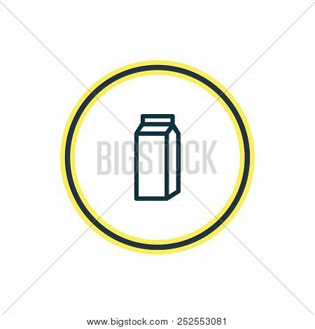 Vector Illustration Of Pocket Milk Icon Line. Beautiful Java Element Also Can Be Used As Paper Box I