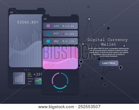 Digital Wallet Concept, Vector Illustration. Smartphone Screen Mockup, Economy Graph, Currency Chart