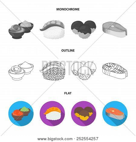 Wasabi Sauce And Ginger, Salmon Steak, Octopus. Sushi Set Collection Icons In Flat, Outline, Monochr