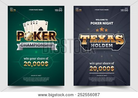 Casino Poker Tournament A4 Flyer. Gold Text With Playing Chips And Cards. Texas Hold'em Championship
