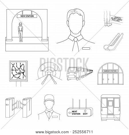 Metro, Subway Outline Icons In Set Collection For Design.urban Transport Vector Symbol Stock Web Ill