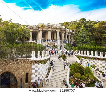 Barcelona, Spain - June 12,2018 : Gorgeous And Amazing Park Guel In Barcelona. Park Guell (1914) Is