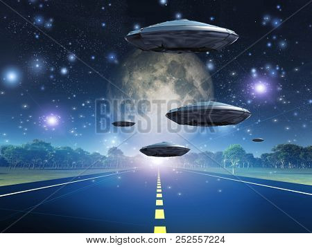 Full moon seen from earth. Flying saucers over the highway. 3D rendering