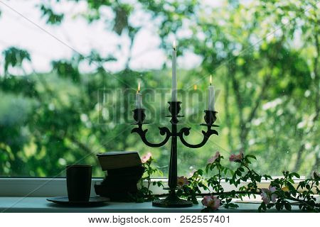 Romantic Mood. Romantic Mood With Books And Candle Stick. Romantic Mood With No People. Romantic Moo