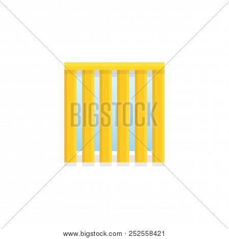 Vertical Yellow Blind. Flat Icon Of Window Shade & Jalousie. Front View. Isolated Object On White Ba