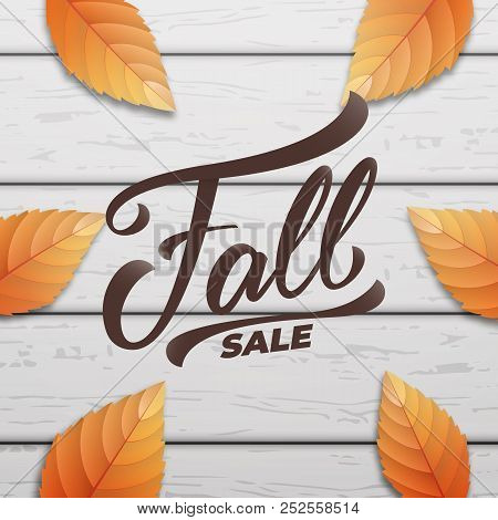Fall Sale. Autumn Layout Design With Wooden Background And Fall Leves. Fall Sale, Promotion, Banner