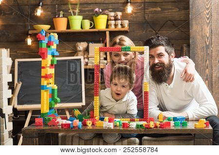 Creativity Concept. Family Build Structure With Toy Bricks, Creativity. Creativity And Imagination F