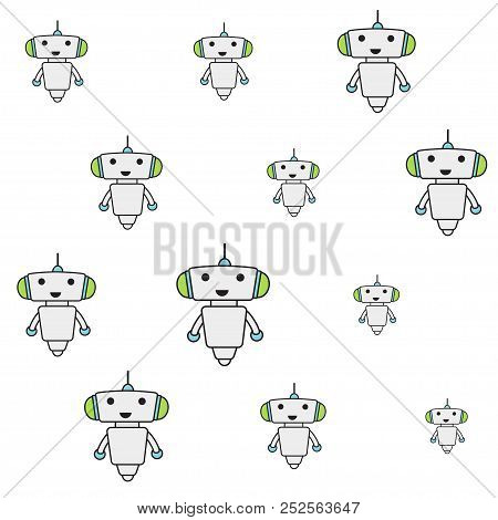 Cute Robot Sameless Pattern