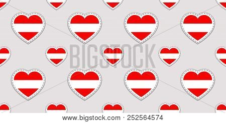 Austria Background. Austrian Flag Seamless Pattern. Vector Stickers. Love Hearts Symbols. Good Choic
