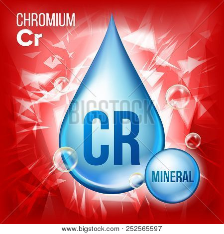 Cr Chromium Vector. Mineral Blue Drop Icon. Vitamin Liquid Droplet Icon. Substance For Beauty, Cosme