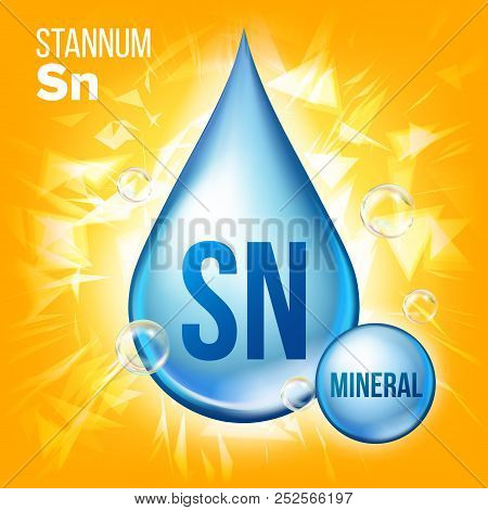 Sn Stannum Vector. Mineral Blue Drop Icon. Vitamin Liquid Droplet Icon. Substance For Beauty, Cosmet