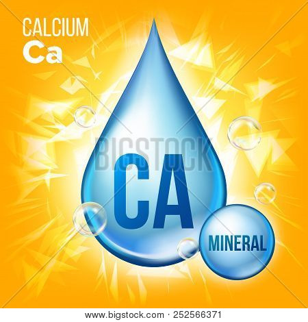 Ca Calcium Vector. Mineral Blue Drop Icon. Vitamin Liquid Droplet Icon. Substance For Beauty, Cosmet