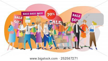 Shopping Mall Crowd Vector Illustration. Family In Sale Center And Store. American Lifestyle And Buy