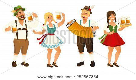 People In Traditional German, Bavarian Costume Holding Beer Mugs, Oktoberfest, Cartoon Vector Illust