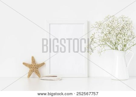 White Frame Mockup A4 In Interior With Sea Elements . Frame Mock Up Background For Poster Or Photo F