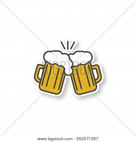 Toasting Beer Glasses Patch. Cheers. Two Foamy Beer Glasses. Color Sticker. Vector Isolated Illustra