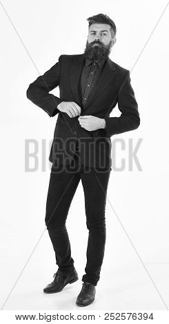 Boss Wears Formal Suit And Looks Angry. Boss With Beard And Serious Face
