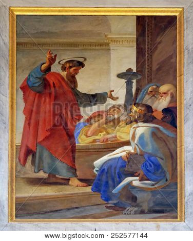 ROME, ITALY - SEPTEMBER 05, 2016: The fresco with the image of the life of St. Paul: Paul Agrees to Take the Nazirites to the Temple, basilica of Saint Paul Outside the Walls, Rome, Italy.