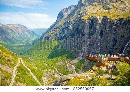 Trollstigen, Norway - 25.06.2018: Trollstigen Viewing Or Viewpoint Platform. Trollstigen Or Trolls P
