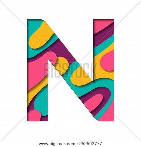 Paper Cut Letter N. Realistic 3d Multi Layers Papercut Effect Isolated On White Background. Colorful