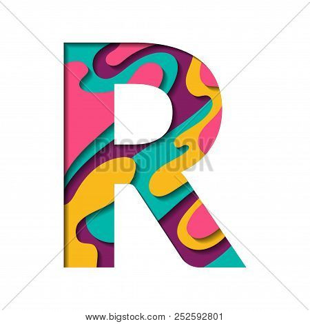 Paper cut letter R. Realistic 3D multi layers papercut effect isolated on white background. Colorful character of alphabet letter font. Decoration origami element for logo icon, birthday party design. poster