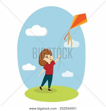 Girl And Kite, Child Playing, Nature, Lawn, Sky. Vector Illustration