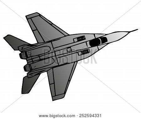 Military Naval Fighter Jet Aircraft, In Flight, Sharp Vector Illustration