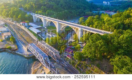 Drone View Of The Matsesta Viaduct And Railway Bridge On The Background Of Mountainsides With Dense