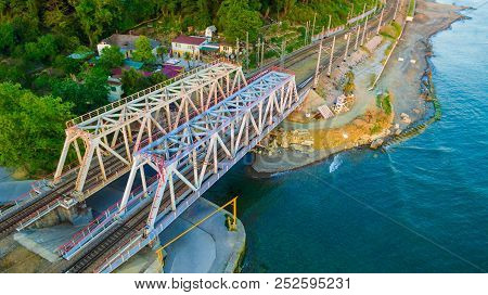 Drone View Of The Seaside With The Railway Bridge Over The Matsesta River In Summer Day, Sochi, Russ