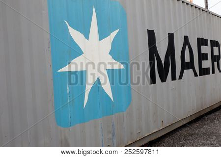 Sodertalje, Sweden - April 29, 2018: Close-up Of A 40 Feet Container With Signage For The Maersk Bra