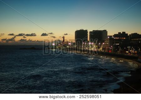 Dusk At Barra Beach In Salvador, Bahia State, Northeast Brazil. Photo: Raphael Castello