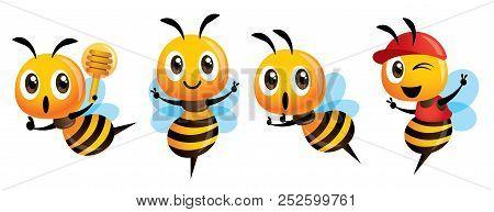 Cartoon Cute Bee Mascot Set. Cartoon Cute Bee Showing Victory Sign, Holding A Honey Dipper And Weari