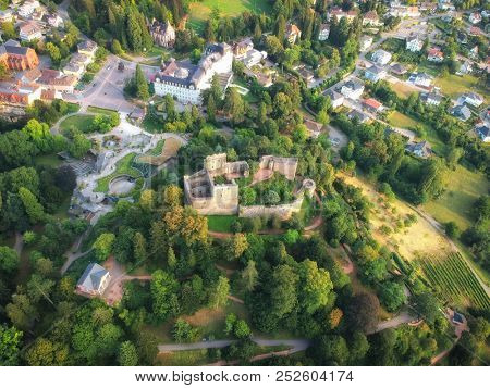 An aerial view to the Castle of Badenweiler Germany