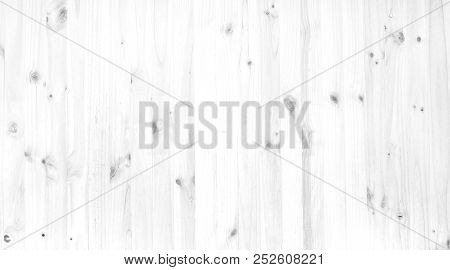 Pine Wood Texture On Wooden Wall Background, Black And White Photo Of Real Softwood Pattern Backgrou