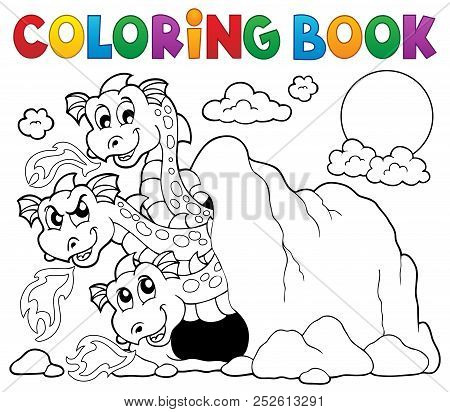 Coloring Book Dragon Theme Image 5 - Eps10 Vector Picture Illustration.