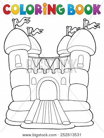 Coloring Book Inflatable Castle - Eps10 Vector Picture Illustration.