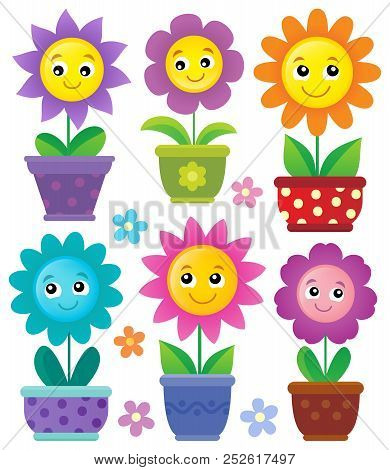 Flowerpots With Smiling Flowers Set 1 - Eps10 Vector Picture Illustration.