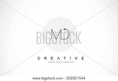 Md M D Logo Design With Black And White Creative Icon Text Letter Vector.