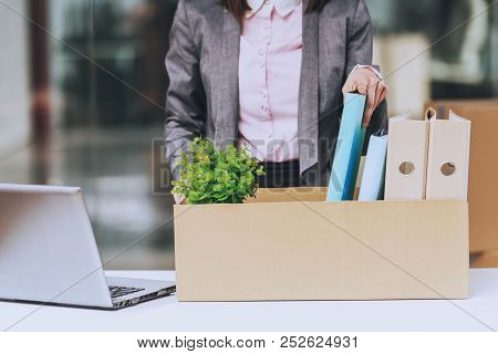 Business Woman Wraps Documents. Box For Moving. Young Manager In New Office. Female Employee. Corpor