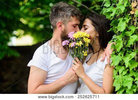 Man Bearded Hipster Kisses Girlfriend. Secret Romantic Kiss. Moment Of Intimacy. Couple Love Romanti