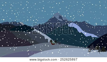 Mountains With Falling Snow, Vector, Mountains With Falling Snow, Vector,